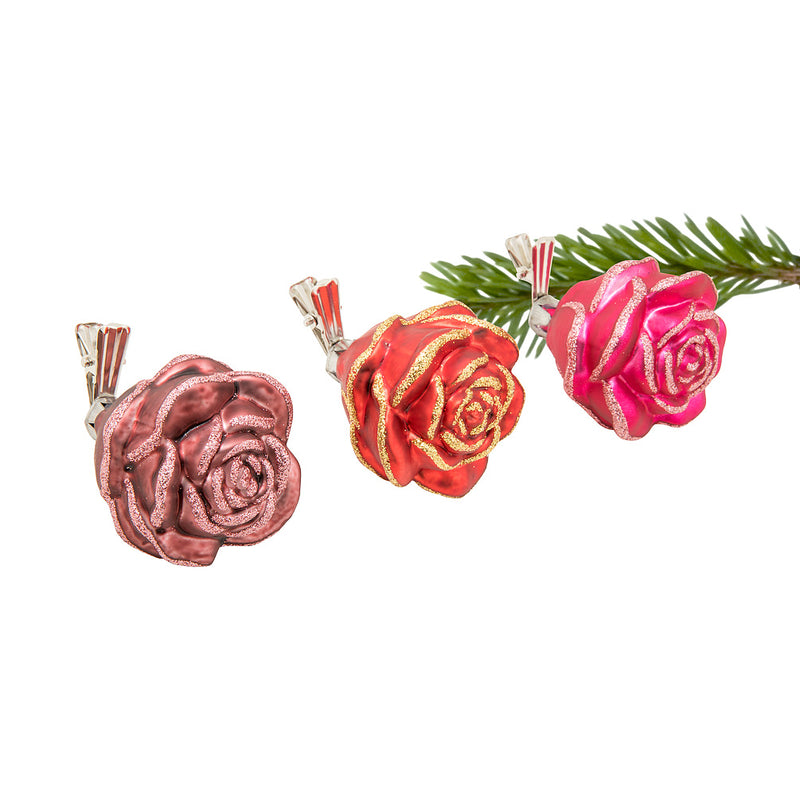 Rosette Clip Glass Ornament - Red | Putti Christmas Celebrations
