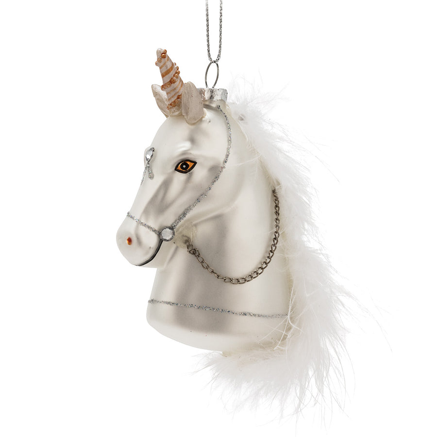 Unicorn with Feather Glass Ornament