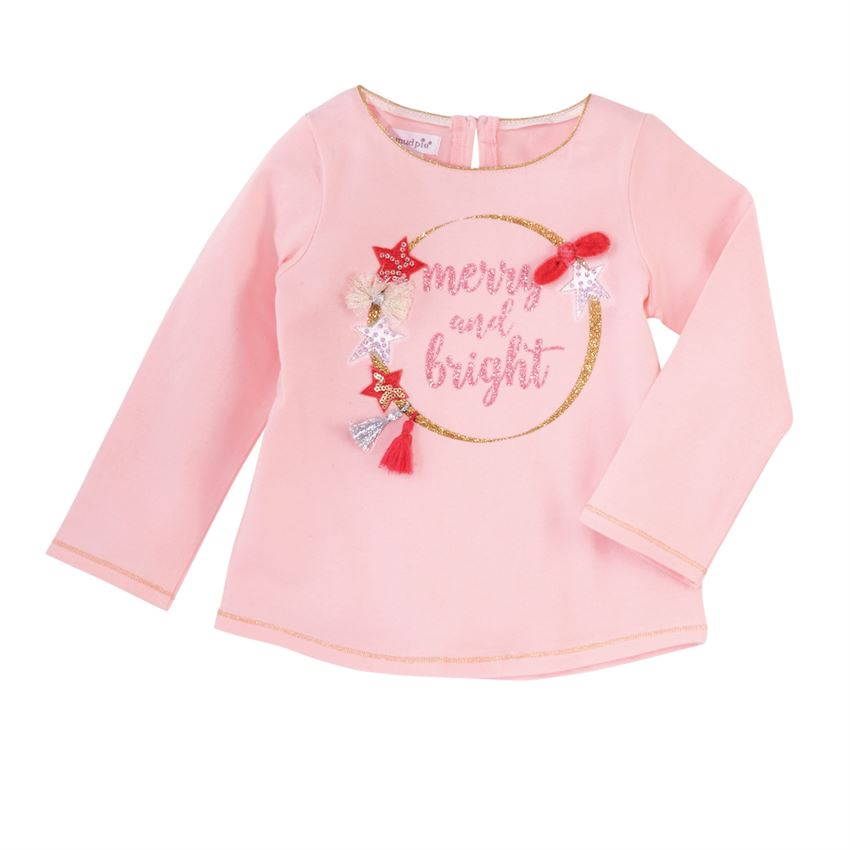 Mud Pie Pink Merry and Bright Holiday Sparkle Tee