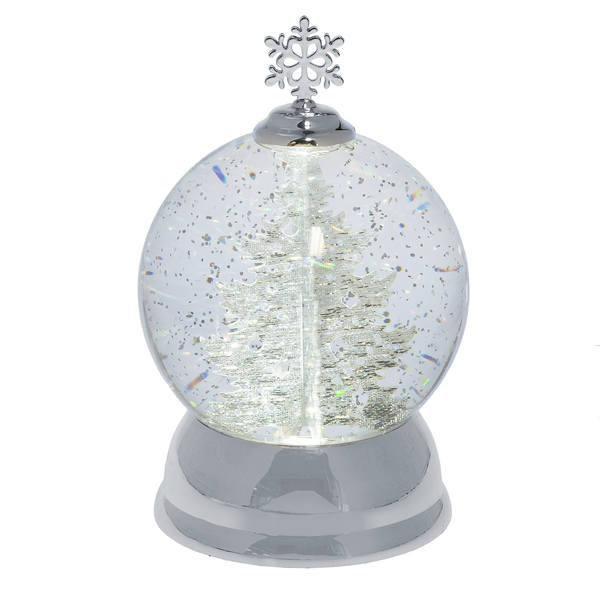 Lighted LED Rotating Shimmer Silver Tree Globe  | Putti Christmas Celebrations Canada