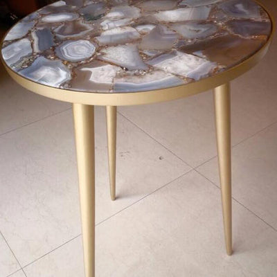 Agate Accent Table - Brass-Furniture-SIF-Style in Form-Putti Fine Furnishings