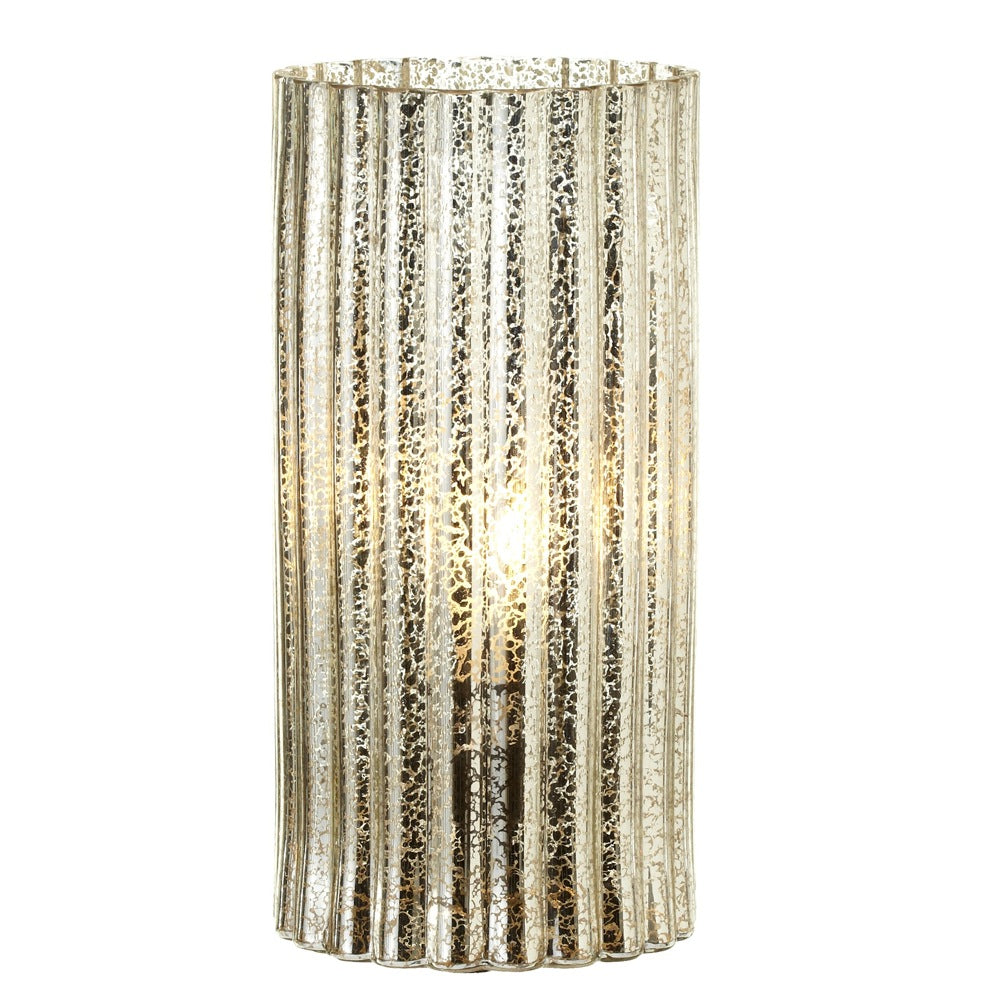 Ribbed Mercury Glass Hurricane Lamp