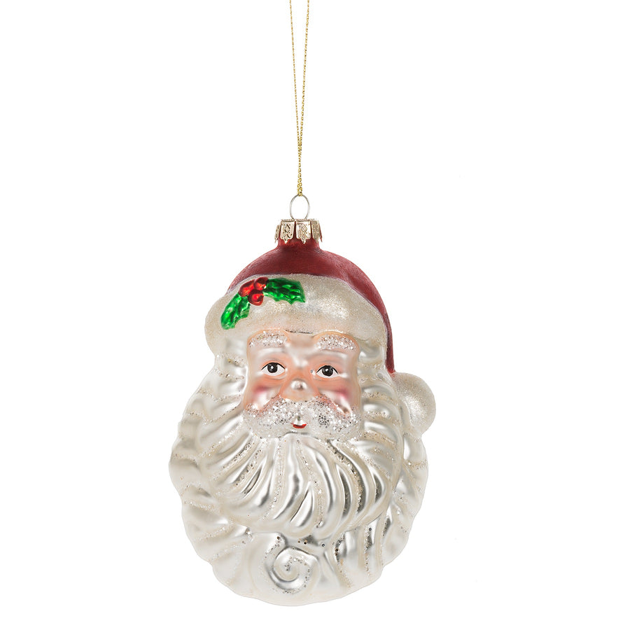Santa Head Glass Ornament