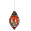 Cutaway Candle Red Mottled Glass Double Point Ornament | Putti Christmas Decorations