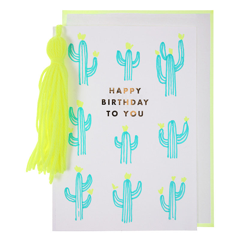 Meri Meri Cactus and Tassel Birthday Card, MM-Meri Meri UK, Putti Fine Furnishings