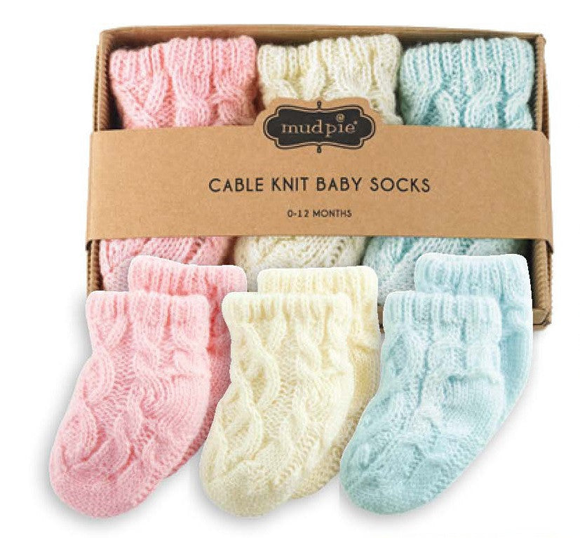 Cable Knit Baby Socks Pink Cream and Blue - Default Title Baby Socks - Mud Pie - Putti Fine Furnishings Toronto Canada