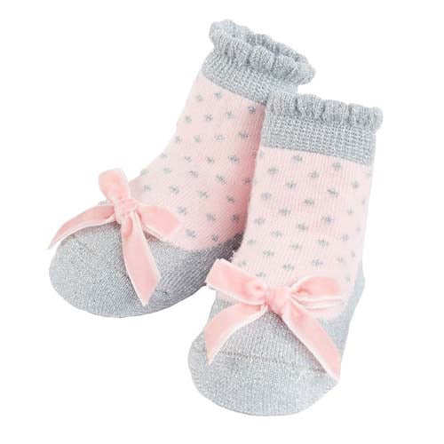 Mud Pie Silver Pink Bow Socks, MP-Mud Pie, Putti Fine Furnishings