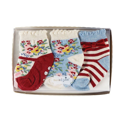 Mud Pie Floral Print Sock Set, MP-Mud Pie, Putti Fine Furnishings