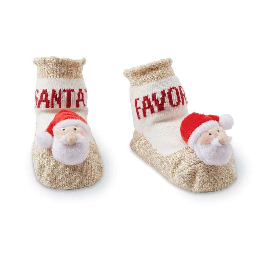Mud Pie Santa Rattle Toe Socks |  Le Petite Putti Canada