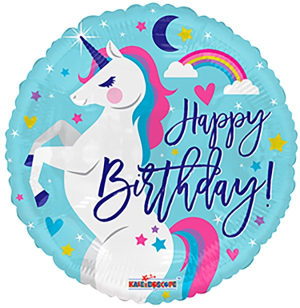 """Happy Birthday"" Round Unicorn Mylar Balloon, SE-Surprize Enterprize, Putti Fine Furnishings"