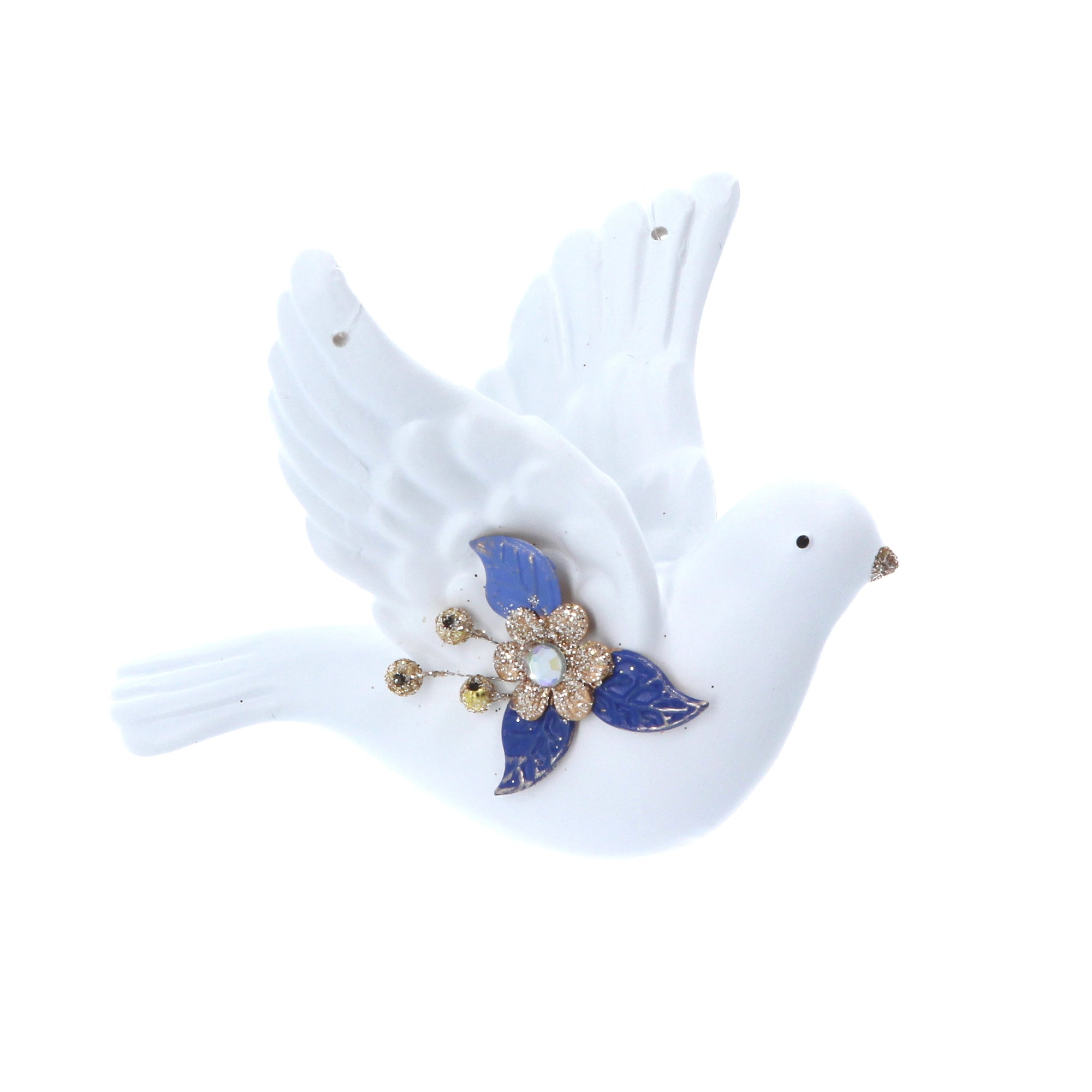 White Dove Ornament with Gold and Blue Decoration | Putti Christmas