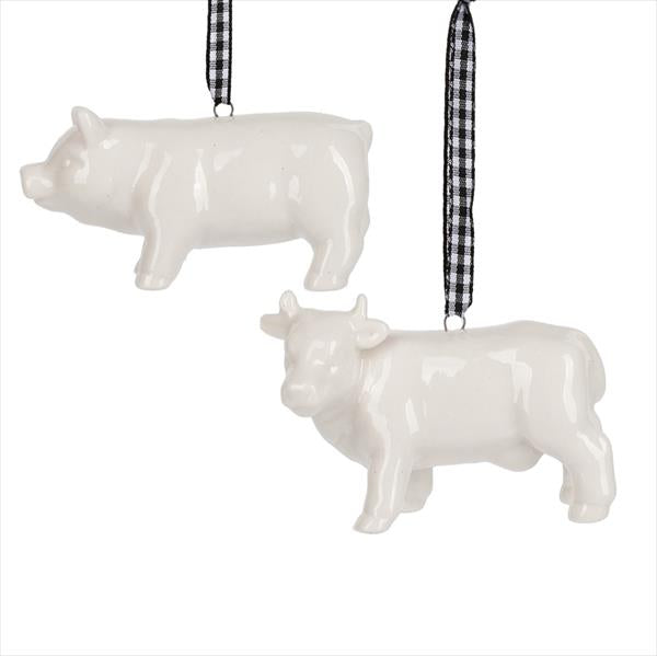 Porcelain Pig and Cow Ornament