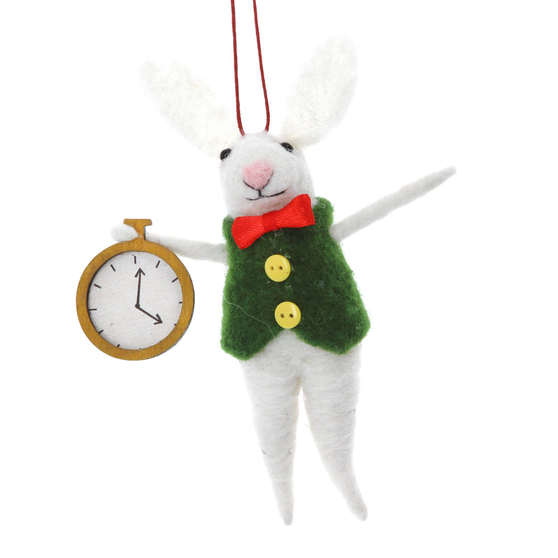 Felted Wool White Rabbit Ornament with Pocket Watch | Putti Christmas Canada