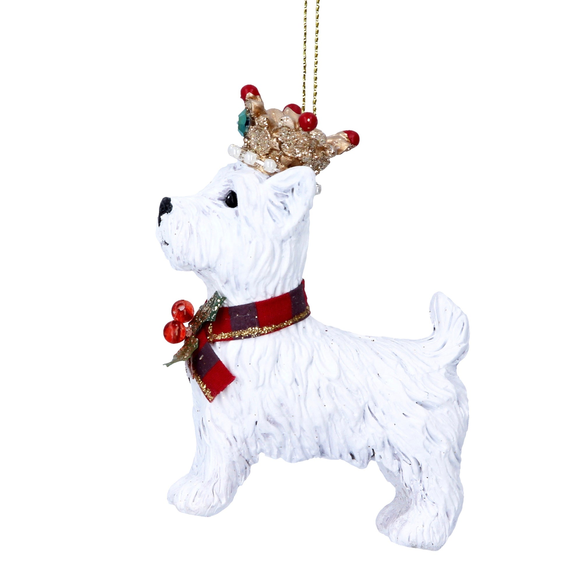 Royal Balmoral West Highland Terrier with Crown Christmas Ornament | Putti Canada
