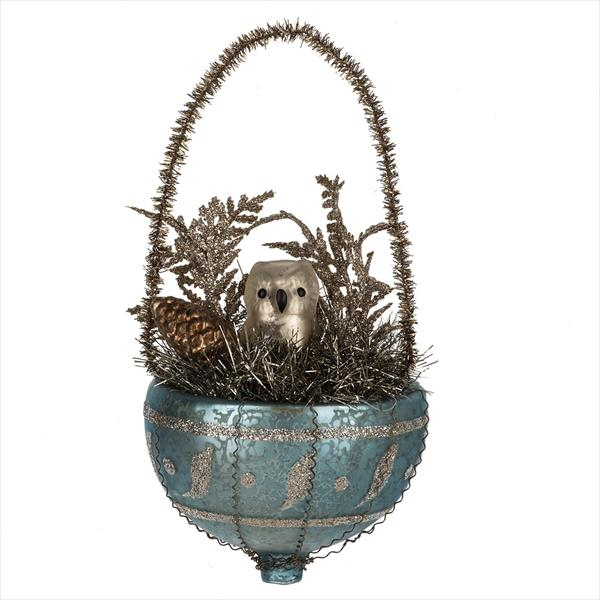 Vintage Style Owl in Nest Ornament