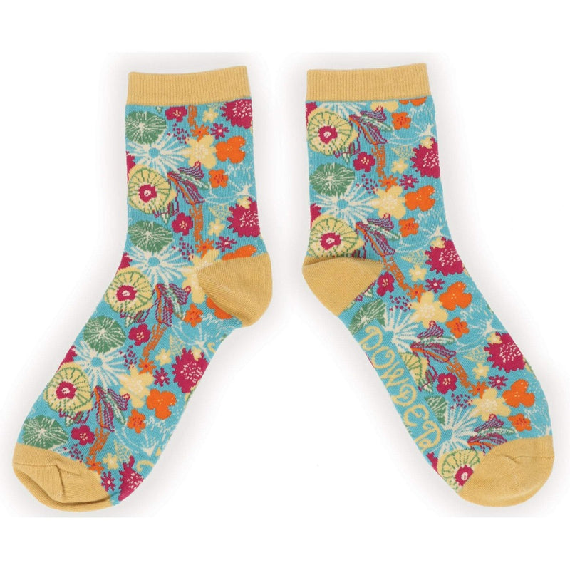 Powder Modern Floral Ankle Socks  - Turquoise | Putti Fine Fashions