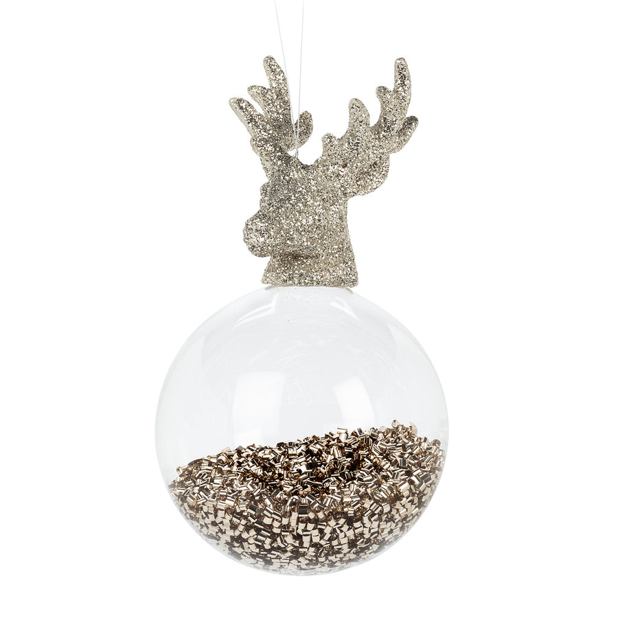 Glitter Filled Ball with Deer Head, AC-Abbott Collection, Putti Fine Furnishings