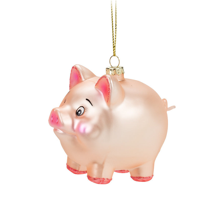 Standing Pink Pig Glass Ornament - Small