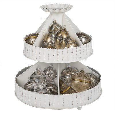 Small Ball Glass Trinket Box Ornament - Silver