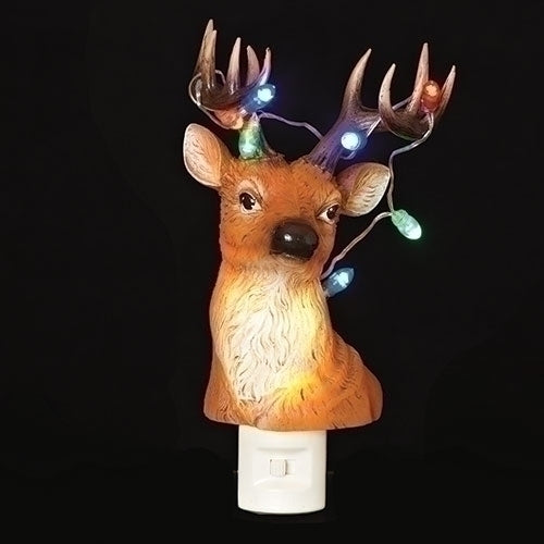 Reindeer Bust Nightlight with Blinking Christmas Lights