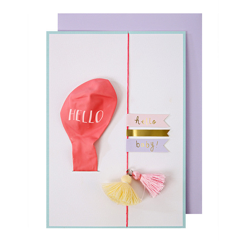 """Hello Baby"" PInk Balloon Card, MM-Meri Meri UK, Putti Fine Furnishings"