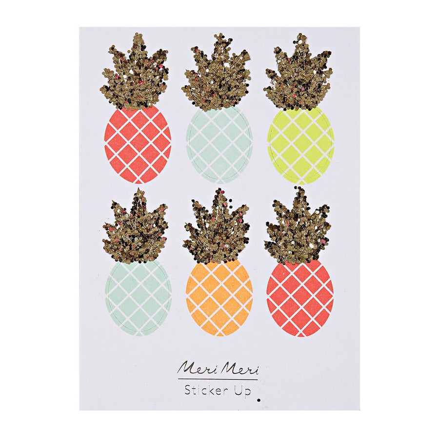 Neon Pineapple Glitter Puffy Stickers