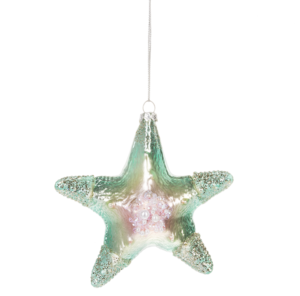 Jewelled Starfish Glass Ornament | Putti Christmas Canada