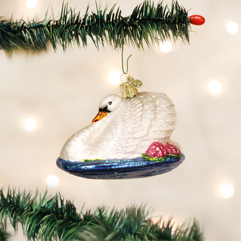 Old Word Christmas Monet's Swan Glass Ornament