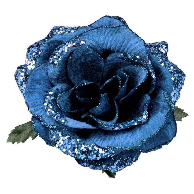 Blue Glitter Rose Clip Ornament
