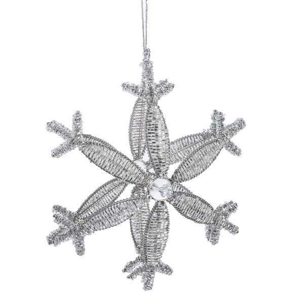 Beaded Snowflake Ornament | Putti Christmas Decorations