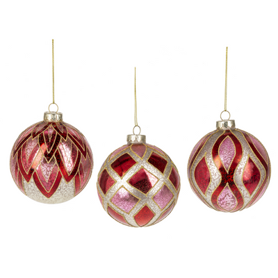 Red and Pink Leaf Patterned Glass Ball Ornament | Putti Christmas Decorations