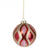 Red and Pink Wave Pattern Glass Ball Ornament