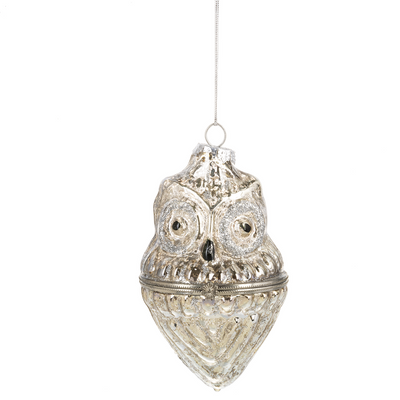 Owl Mercury Glass Trinket Box Ornament