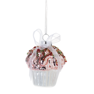 Cupcake with Bow Glass Ornament | Putti Christmas Decorations