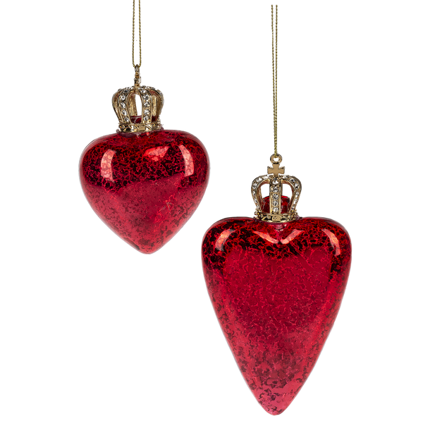 Red Heart with Crown Glass Ornament | Putti Christmas Decorations