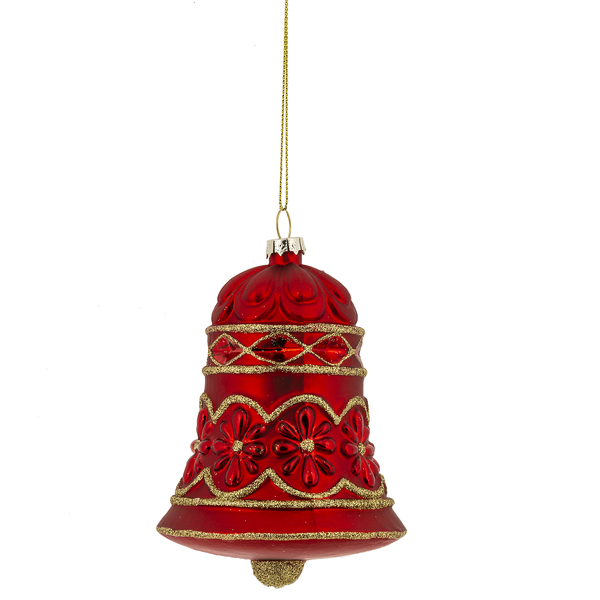 Red and Gold Bell Glass Ornament | Putti Christmas Celebrations Canada