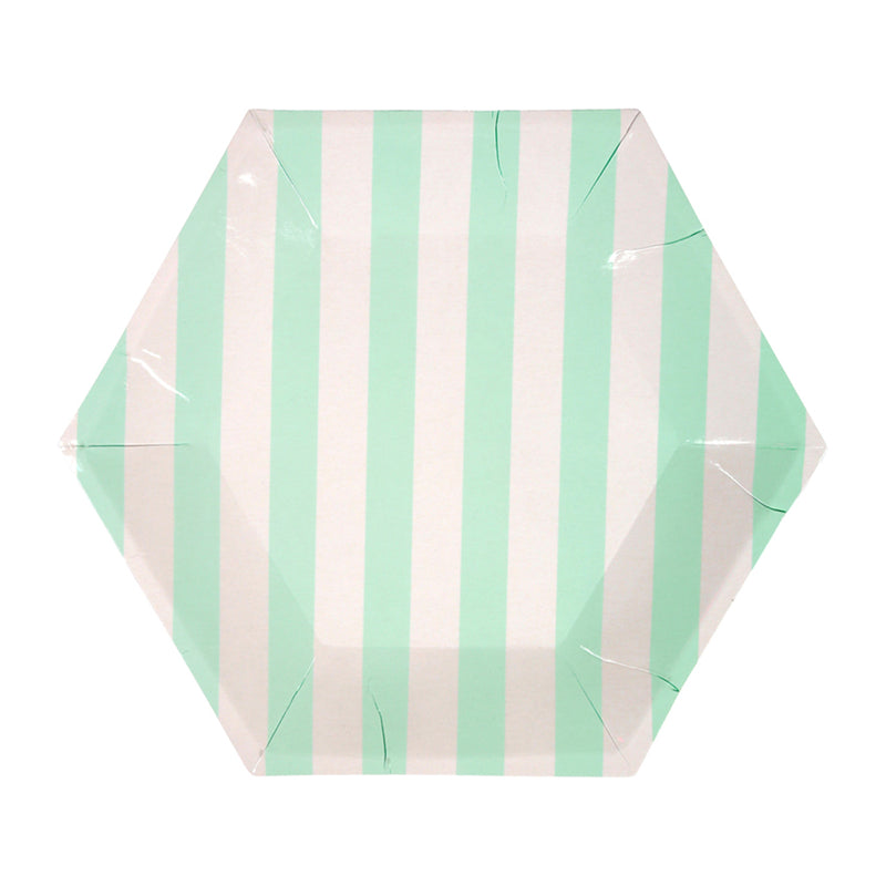 Meri Meri Mint Stripe Paper Plates - Small, MM-Meri Meri UK, Putti Fine Furnishings