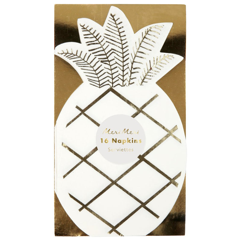 Meri Meri Gold Foil Pineapple  Paper Napkin, MM-Meri Meri UK, Putti Fine Furnishings