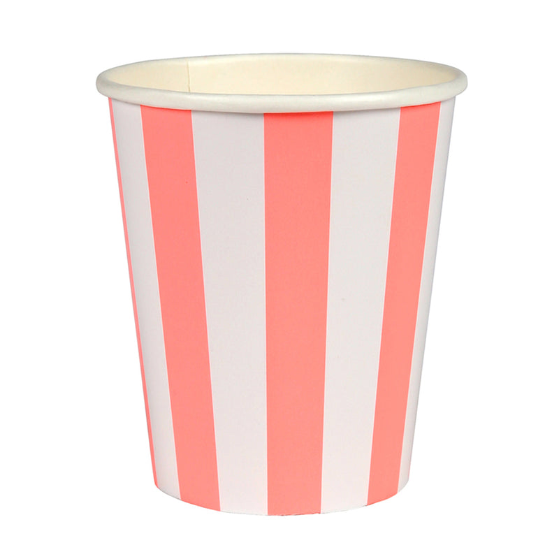 Meri Meri Coral Striped Paper Cups, MM-Meri Meri UK, Putti Fine Furnishings
