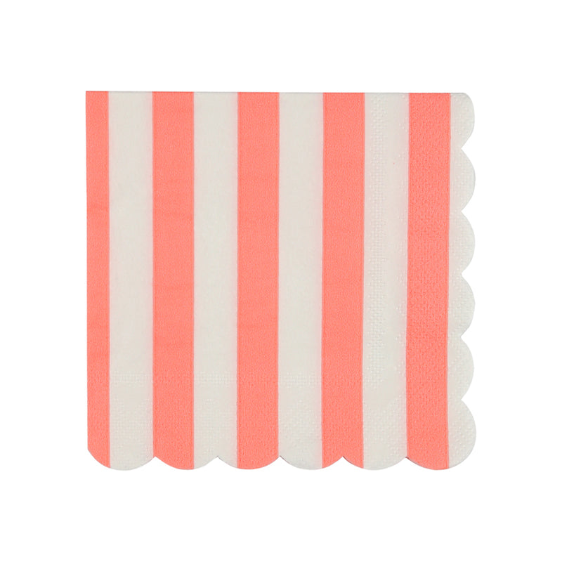 Meri Meri Coral Stripe Paper Napkin - Small, MM-Meri Meri UK, Putti Fine Furnishings