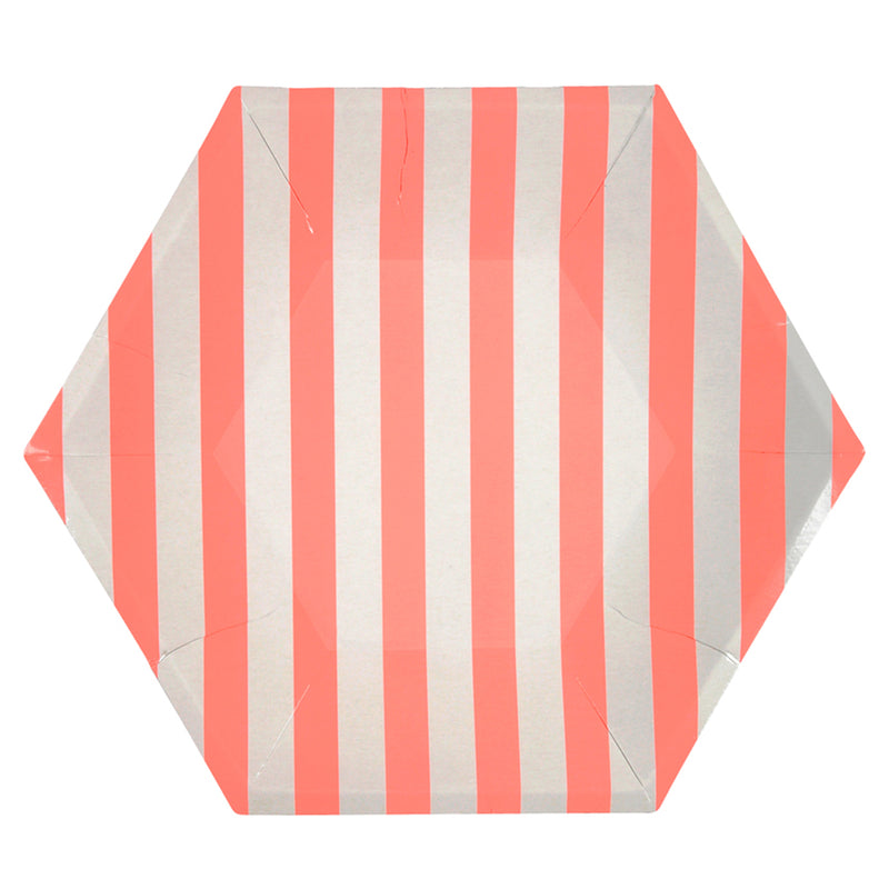 Meri Meri Coral Stripe Paper Plates - Large, MM-Meri Meri UK, Putti Fine Furnishings