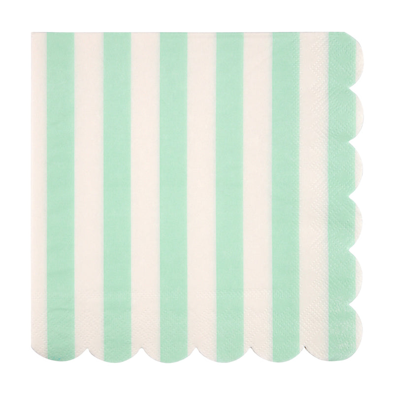 Meri Meri Mint Stripe Paper Napkin - Large, MM-Meri Meri UK, Putti Fine Furnishings