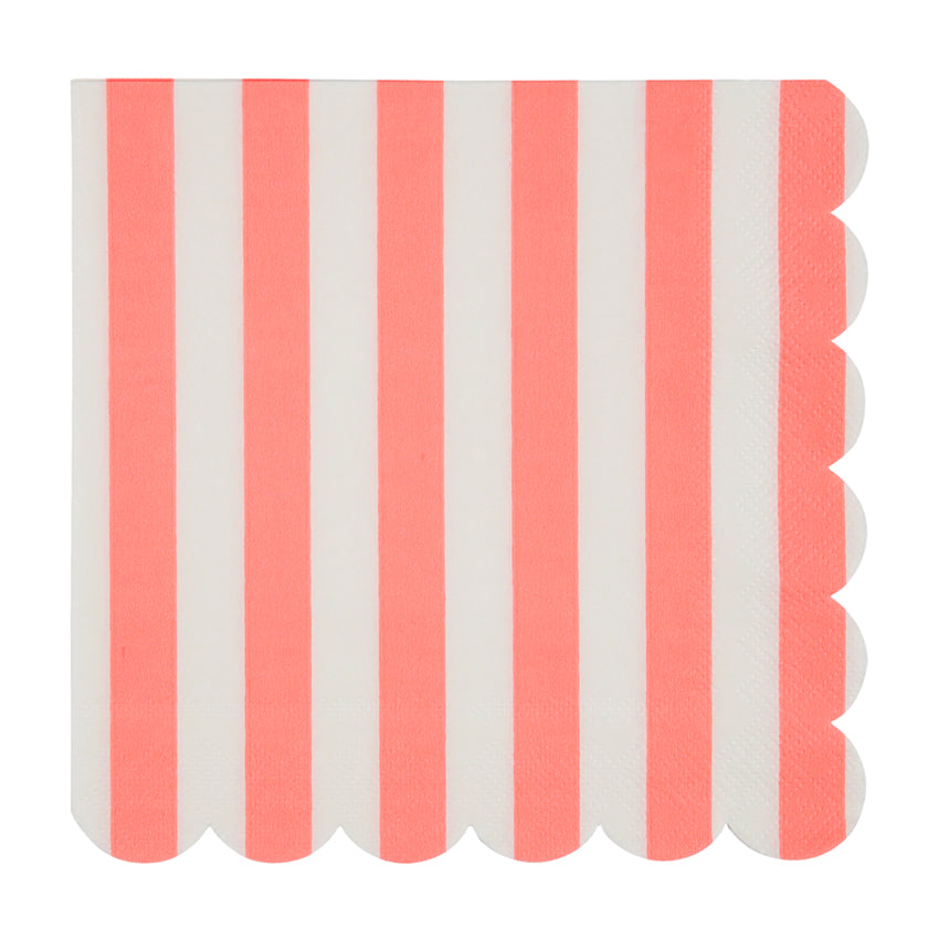 Meri Meri Coral Stripe Paper Napkin - Large, MM-Meri Meri UK, Putti Fine Furnishings
