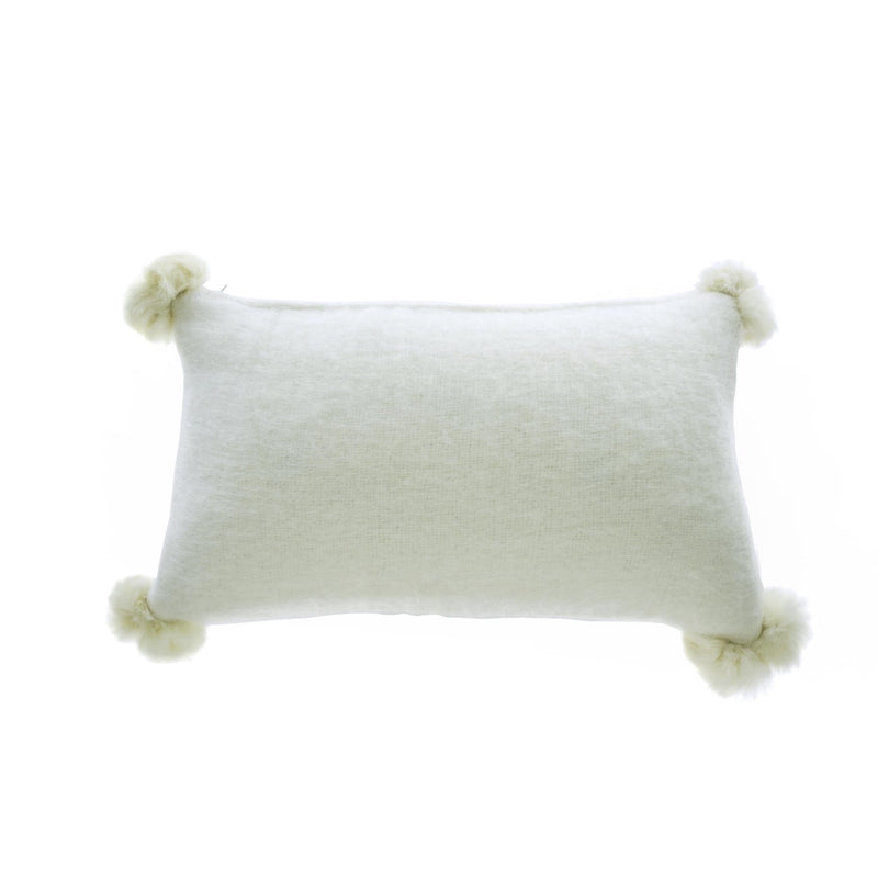 Mohair Cushion with Fur Pom Poms - White