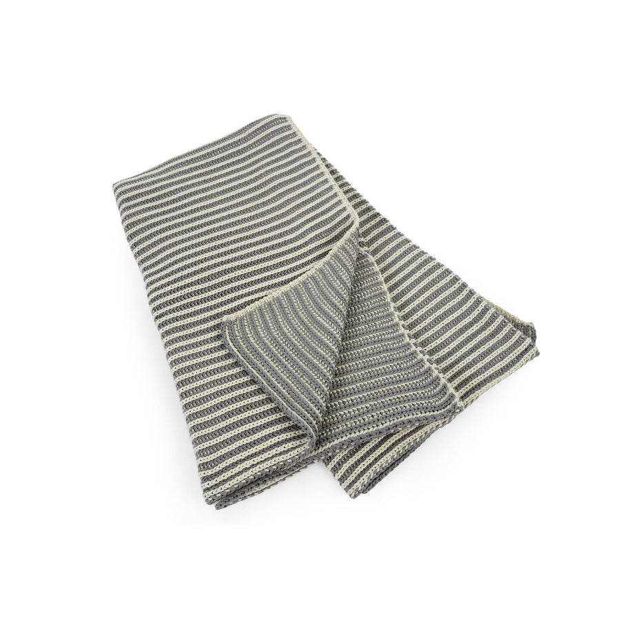 Double Ribbed Throw Grey and Natural