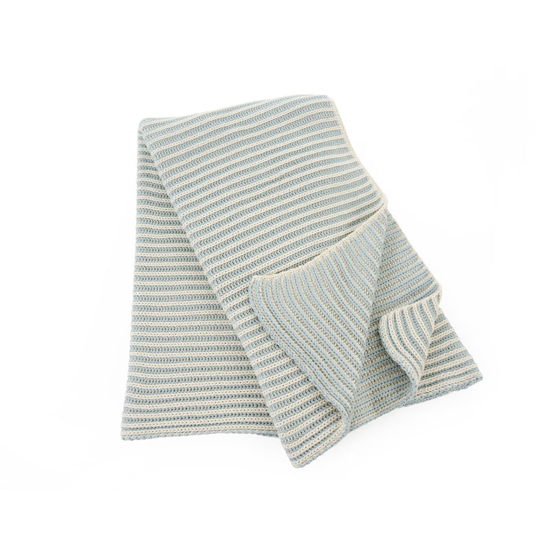Double Ribbed Throw Blue and Natural, IT-Indaba Trading, Putti Fine Furnishings