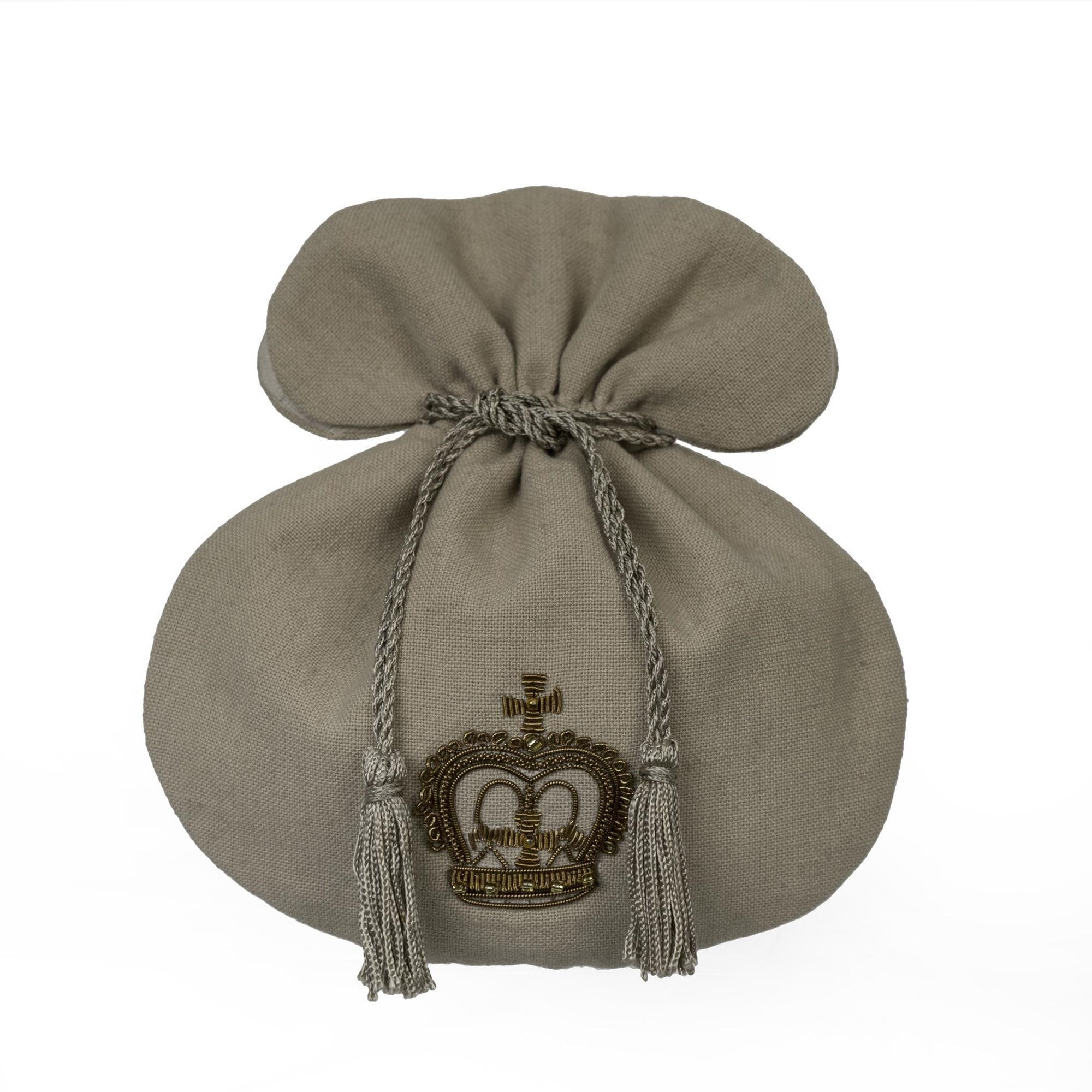 Gilded Queen Crown Linen Pouch, IT-Indaba Trading, Putti Fine Furnishings