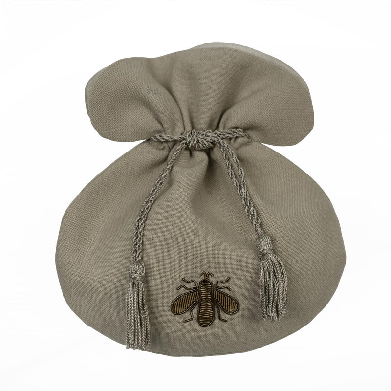 Gilded Bee Crown Linen Pouch, IT-Indaba Trading, Putti Fine Furnishings