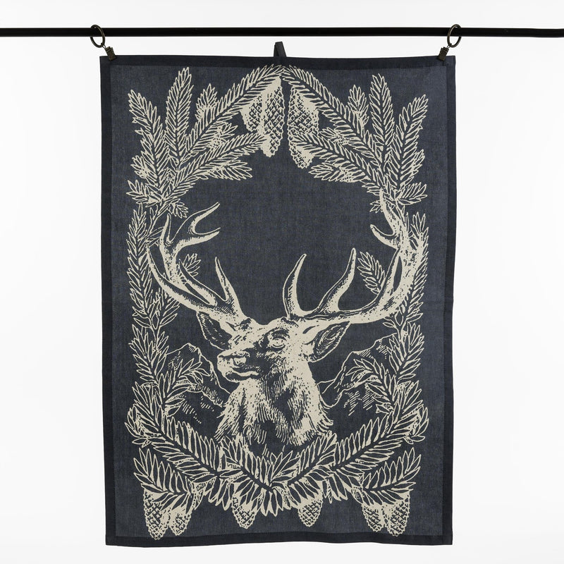 Set of Three Stag Tea Towels - Steel Blue -  Christmas - IT-Indaba Trading - Putti Fine Furnishings Toronto Canada
