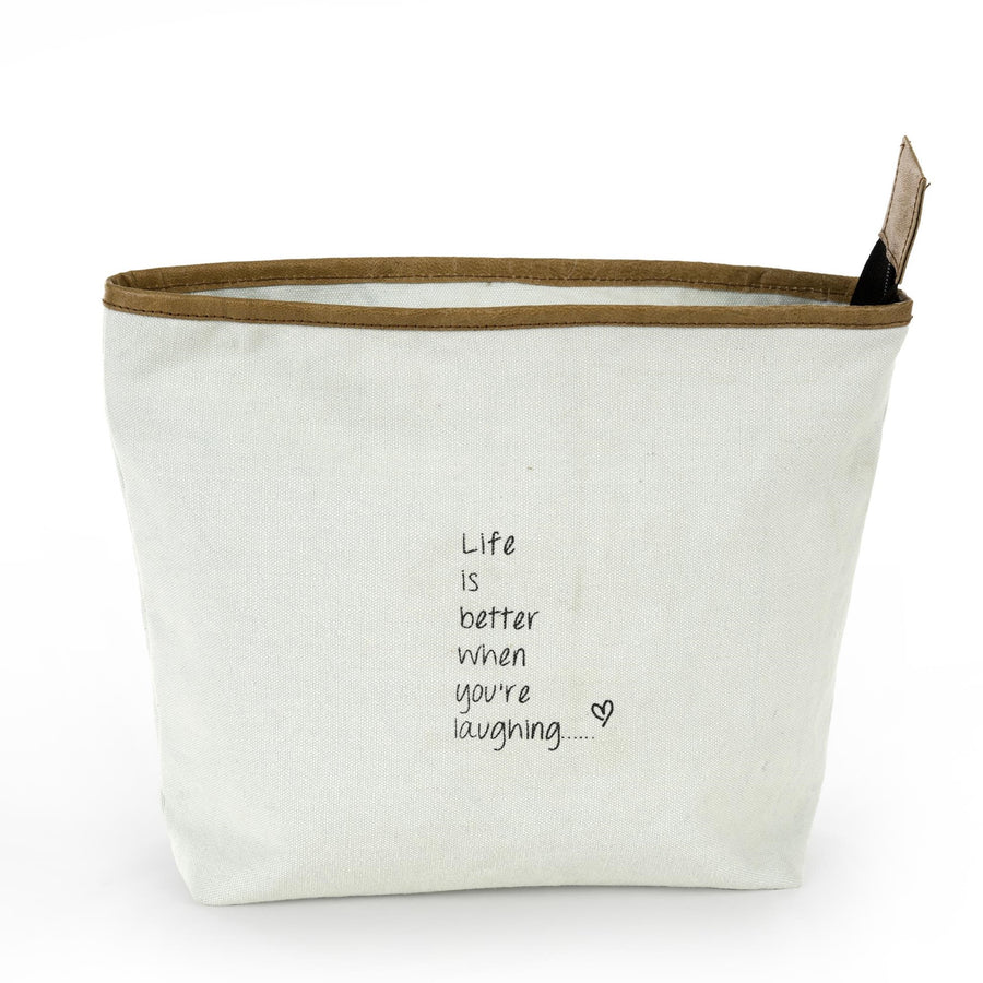 """Life is better when you're laughing""  Mint Canvas Zippered Bag"